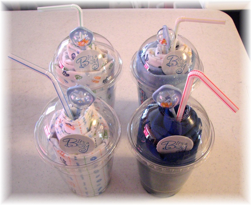 "Diaper Cake Alternative ""its a BOY"" milkshake x's 4"