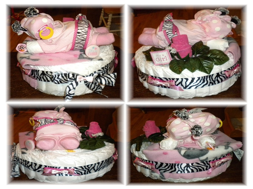 "Diaper Cake ""Zebra"" Diaper Baby & Cake For a Girl!!!"