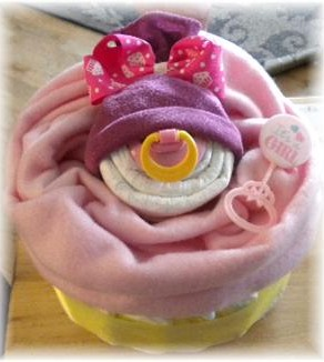 "Diaper Cake ""Giant Baby Face Cupcake"" for a Girl!"
