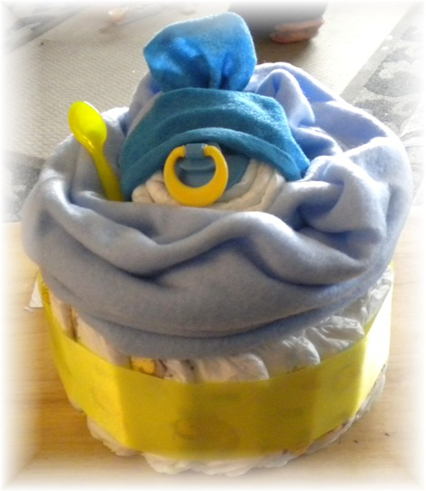 "Diaper Cake ""Giant Baby Face Cupcake"" for a Boy!"