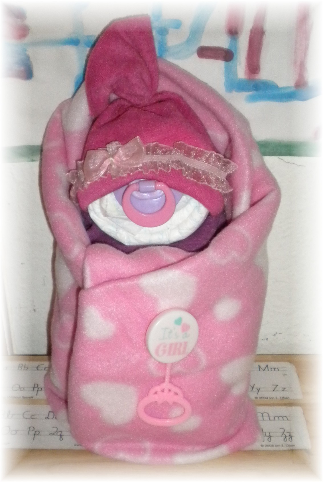 "Diaper Cake ""Swaddle Me"" Baby Girl"