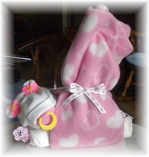"Diaper Cake ""Stork Baby Bundle Girl"""